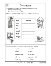 1st grade 2nd grade reading worksheets synonyms greatschools