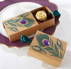 peacock favors european design peacock feather candy box kraft paper gift