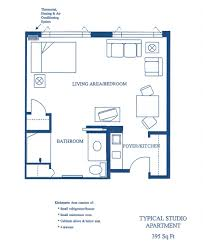 Studio Apartment Floor Plan by Floorplans Jewish Healthcare Center