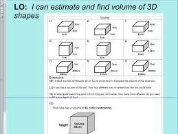 volume of 3d shapes cube cuboid ks2 year 5 u0026 6 sats