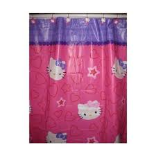 kitty pink bath vinyl shower curtain lotion soap