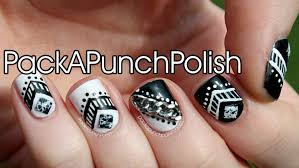 black white tribal studs u0026 chains nail art tutorial youtube