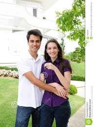 homeowner couple buying a new house royalty free stock image