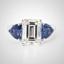 sapphire emerald cut engagement rings 3 03 carat emerald cut ring trillion cut sapphire accents
