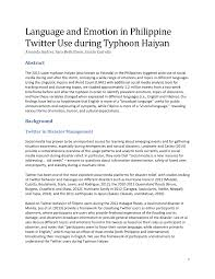language and emotion in philippine twitter use during typhoon