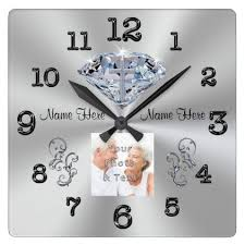 anniversary clock gifts photo and names cross in diamond anniversary gifts square wall