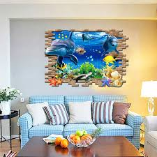 3d dolphin and friends under water large uk wall sticker