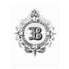 monogram letter b letter b monogram postcards zazzle