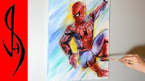 painting spiderman acrylic paints canvas