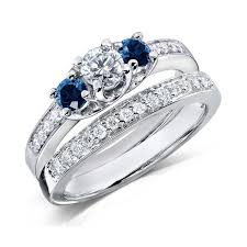 sapphire wedding ring 1 carat and blue sapphire wedding ring set for