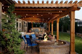 pergola fireplace patio rustic with outdoor firepit traditional