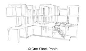 drawing of 3d sketch of an interior of a public building 3d