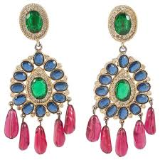 1970s earrings spectacular colourful moghul style earrings kenneth