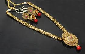 gold long necklace set images Buy traditional gold plated design bridal long necklace set with jpg