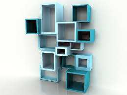 interior unique blue modern stained solid wood floating bookcase