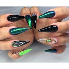 black and green stiletto nails real scorpion nail art summer nail