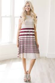 burgundy cream stripe casual modest dress best and affordable