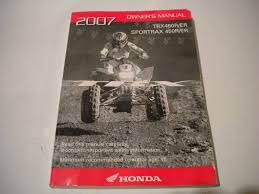 2007 honda sportrax 450r and 450er atv owners manual trx450r and