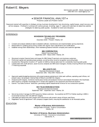 Example Career Objective Resume by Financial Analyst Objective Resume Resume For Your Job Application