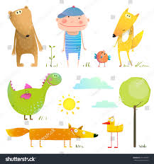 collection cartoon animals child kids collection stock vector