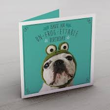 personalised birthday card un frog ettable dog from 99p