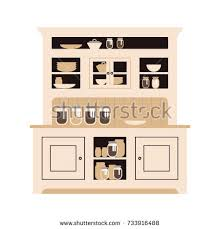 hutch kitchen buffet dishes different bottles stock vector