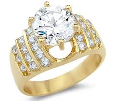 large engagement rings solid 14k yellow gold solitaire cz cubic zirconia
