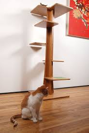 modern scratching post carpetless cat tree wooden climbers and houses real furniture