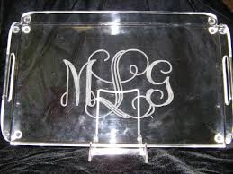 monogrammed serving tray acrylic serving tray