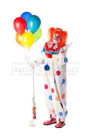 clowns balloons clowns smiling holding bunch balloons length