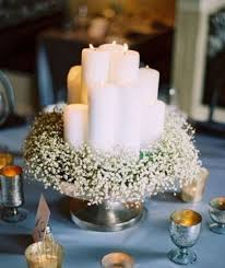 table decorations with candles and flowers wedding table decoration ideas with white candles and small white