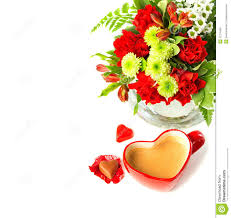 valentines coffee mug with bouquet of flowers stock images image