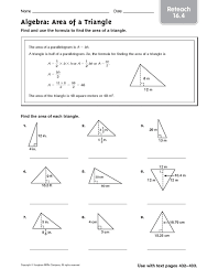 all worksheets finding area of a triangle worksheets printable