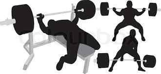 Bodybuilder Bench Press Powerlifting Weightlifting Or Bodybuilding Vector Silhouettes On