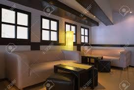 interior of cafe bar minimal modern design with white walls