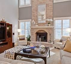 two story family room with coffered ceilings dream home