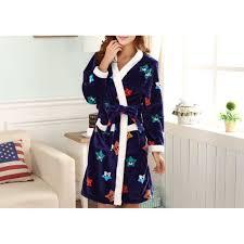 robe de chambre fantaisie etoiles bleue femme polaire achat
