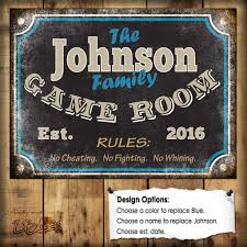 custom family game room sign 1 aluminum sign indoor or