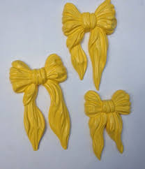 vintage homco home interiors set of 3 yellow bows wall plaques