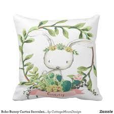 boho bunny cactus succulent baby nursery pillow pinkforestcafe