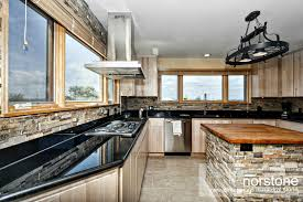 kitchen interior modern stacked stone backsplash photos with no