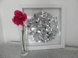 silver 3d butterfly picture circle butterflies framed art home