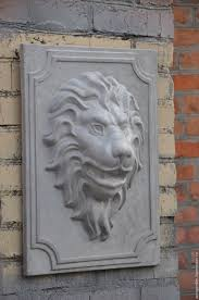 buy lion concrete bas relief no 1 on the cartouche grey leo