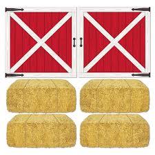 Red Barn Door by Barn Loft Door U0026 Hay Bale Props Pack Of 12