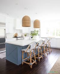 white kitchen cabinets with blue island coastal kitchen remodel faqs on virginia