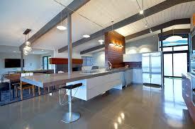 mid century modern kitchen design white rectangle island angular