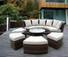 Rattan Curved Sofa All Weather Wicker Rounded Sectional Rattan Curved Garden Sofas