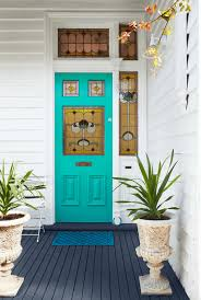 colorful flower on purple door color ideas with simple mat on dark