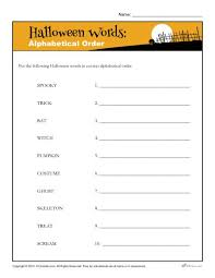 alphabetical order halloween words printable holiday activity