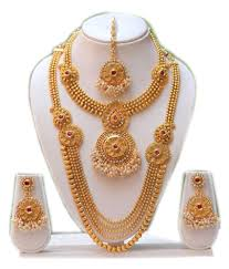 necklace set swarajshop kundan golden necklace set with maang tikka buy